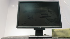 LCD Monitor Before - Notice the Chem Sponge with the black soot from a fire.